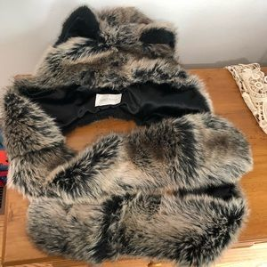 Spirithoods faux fur wolf hood with ears & paws